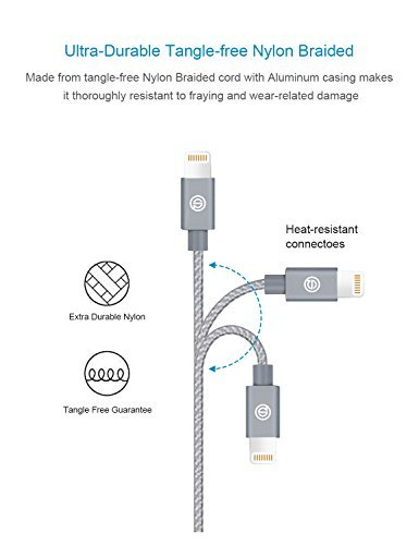 OPSO Apple Charger[Apple MFi Certified] - Nylon Braided USB Data Cable(2M / 6.6 ft)with Lightning Connector 8-pin for iPhone 7 6s 6 Plus 5s 5 iPad Pro mini iPod - Gray