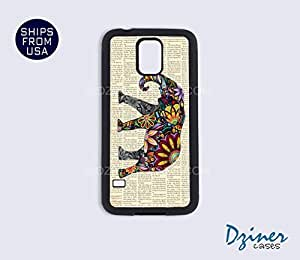 Galaxy S4 Heavy Duty Tough Case Cover - Colorful Elephant on Vintage Newspaper