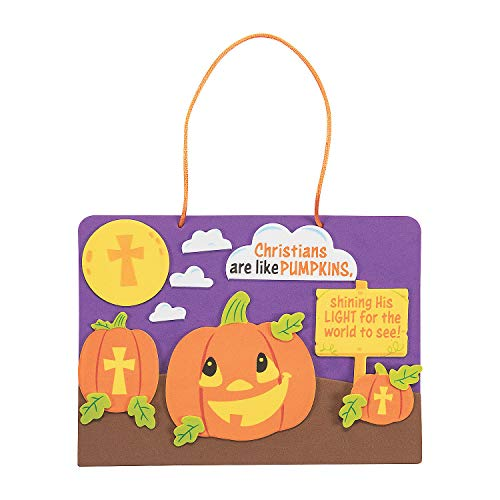 Christian Halloween Crafts (Fun Express Christians are Like Pumpkins Sign Craft Kits (Makes 12) Fall Craft Kits for)