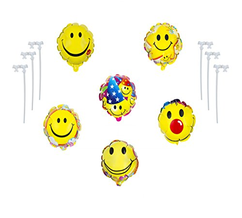 Emoji Balloon Self Inflat Happy Birthday Party - Set of 6 Pack Mylar Foil 7 Inch Ballons For Congratulation Decoration Anniversary Festival Graduation Bouquet Gift Idea Engagement Parties (Hello Kitty Party Food Ideas)