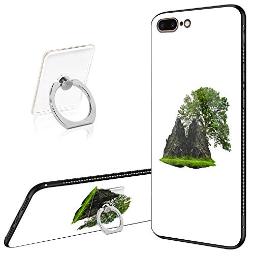 iPhone 8 Plus Case,iPhone 7 Plus Cases Tempered Glass Pattern Painted Floating Island Cover for iPhone 7/8 Plus