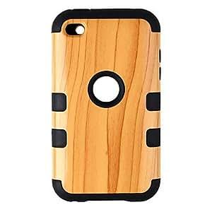 Funda protectora de silicona de moda del patrÓn de madera para el iPod touch 4 Verde
