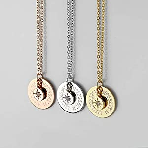 Custom Coordinates Necklace Personalized Graduation Gift North Star Pendant Necklace Compass Necklace Latitude Longitude…
