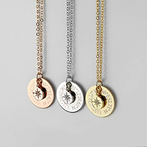 (SAME DAY SHIPPING TIL 3PM Custom Coordinates Necklace Personalized Graduation Gift North Star Pendant Necklace Compass Necklace Latitude Longitude -)