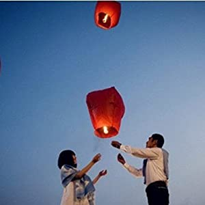5X Love Heart KongMing Sky Lanterns Chinese Traditional Wishing Lamp Rose Red Color