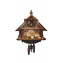 Quartz Cuckoo Clock Black Forest house with moving beer drinker and mill wheel, with music