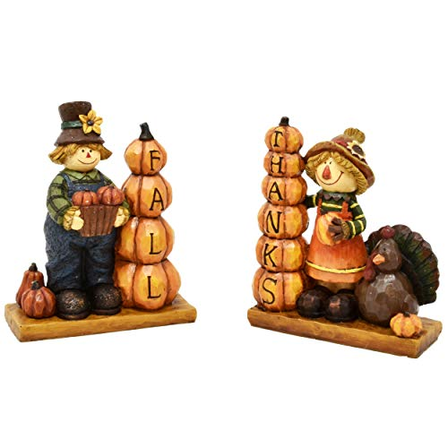 Thanksgiving Decorations Set of 2 Boy and Girl Scarecrow Figurines Table Toppers Harvest Autumn Resin Centerpiece Fall Thanks Turkey Pumpkin Figure for Fireplace Mantle Home Party Decor Accessories