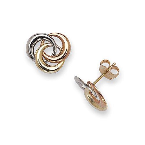 14k Tri-color Gold Love-knot Circle Post Earrings - Measures 10x10mm - (Circle Tri Color Earrings)