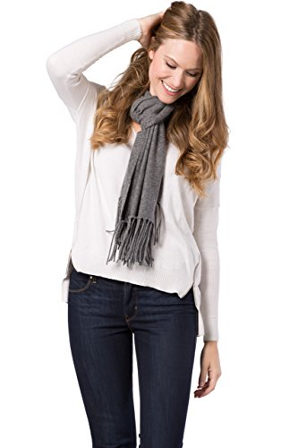 Fishers Finery Women's 100% Cashmere Knit Scarf with Fringe Detail (Iron Gate)