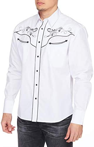 41jYQP6FQ6L. AC RCCO RODEO CLOTHING COMPANY Men's Embroidered Western Inspired Long Sleeves Button Down Dress Shirt    Machine WashWestern Style - Regular fit dress shirts with Embroidery will work wonderfully well when worn with a pair of jeans and boots. This will add a touch of genuine western vibe to your everyday look. (If you want a more loose shape, we recommend going a size up)Unique Design - The tenderness and solid cotton blend fabric makes you stay comfortable and breathable when wearing for all day. The collar lining, inner cuff and the embroideries on the front and back are in a contrast pattern. Fine western fashion design make these dress shirts eye catching.Trusted Brand - For the man who owns his style, RCCO RODEO CLOTHING COMPANY proudly pushes the boundaries of men's western button down shirts, for a powerful look that gets noticed and embodies western individuality.Most Occasion - The western dress shirts are suitable for sport, casual, work, date, party, holiday and others. That is always appreciated as a gift, which is why it makes the perfect present for your Father, Husband, Brother, Sons and others.Guaranteed Service - All the size data are about garment measurements. If you have some confusions which size do you need, you can check the size chart below the product descriptions, or contact with us freely, we are ready at all times to serve you.