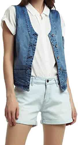 142a3fbee86 MK988 Women Plus Size Cropped Casual Slim Sleeveless Denim Vest Waistcoat  Jacket Gilet