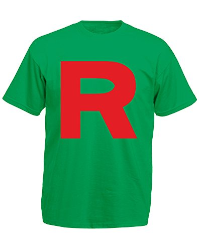 Red R, Mens Printed T-Shirt - Kelly Green/Red M (Jessie From Team Rocket)