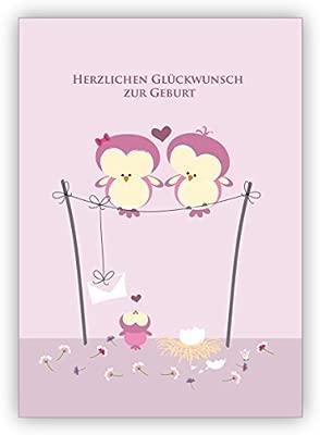 Color rosa bebé tarjeta con búhos Padres y bebé recién ...