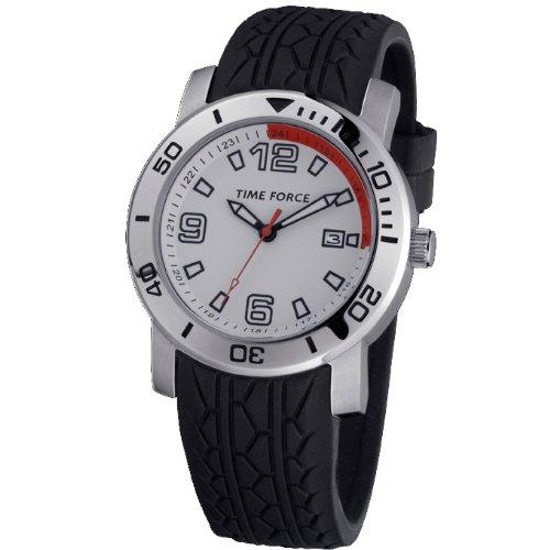 Reloj TIME FORCE de Caballero. Acero Correa de caucho negra Esfera blanca Calendario. TF