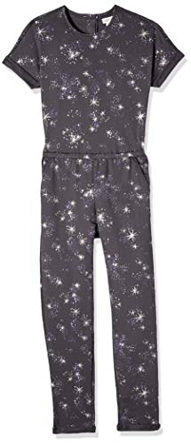 Gymboree Girls' Big Short Sleeve Knit Romper, Grey Star Constellation M