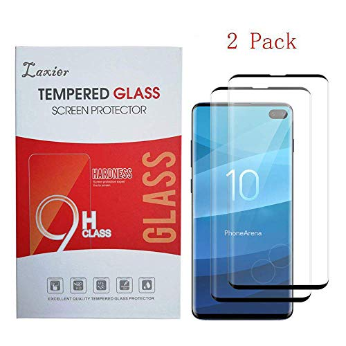 2 Pack of Galaxy S10 Plus Tempered Glass Screen Protector, Case Friendly Full Coverage Saver Protective Cover Clear Film for Samsung Phone S10+ (not for S 10 and S 10E)