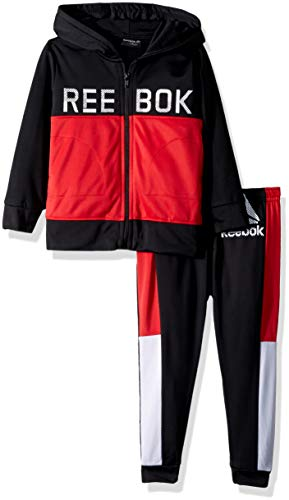 Reebok Boys' Little' Color Block Tricot Hooded Jacket and Jog Pant, True red, 6