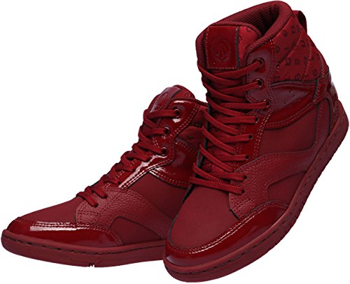 Paperplanes-1332 Women Casual Taller Insole High Top Lace Up Sneakers Shoes Wine z6U73MJ