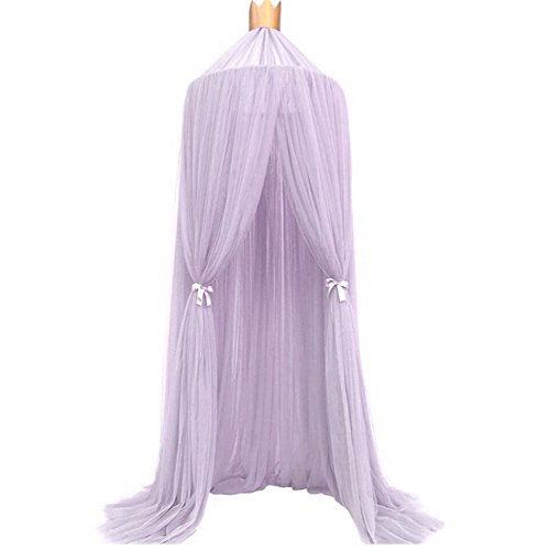 Leedford Round Crib Curtain Dome Bed Canopy Netting Princess Mosquito Net-Photography Props (Purple, 94.5