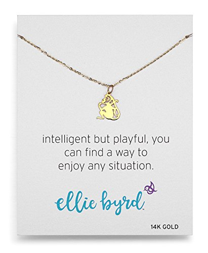 ellie byrd 14k Yellow Gold Monkey Pendant Necklace, 18
