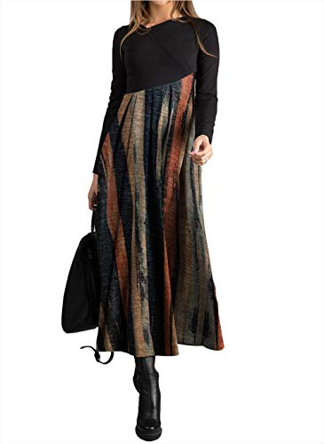 COSKPUTY Women's Autumn/Winter Elegant Floral V-Neckline Maxi A-line Dress