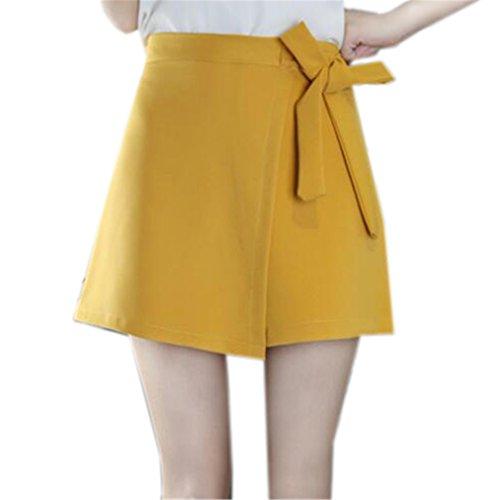 Skirt Haute Unie Yellow1 Tayaho Court Universite Femme Jupe Couleur Loisir Avec Jupe Crayon Taille Miniskirt Papillon Femelle Jupe Noeud TTwOUPxg