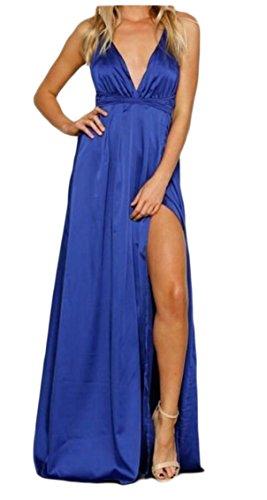 Dress Party Long Sexy Deep 1 Satin Jaycargogo Sleeveless Backless V Split Women's Neck 1qWPwCaSx