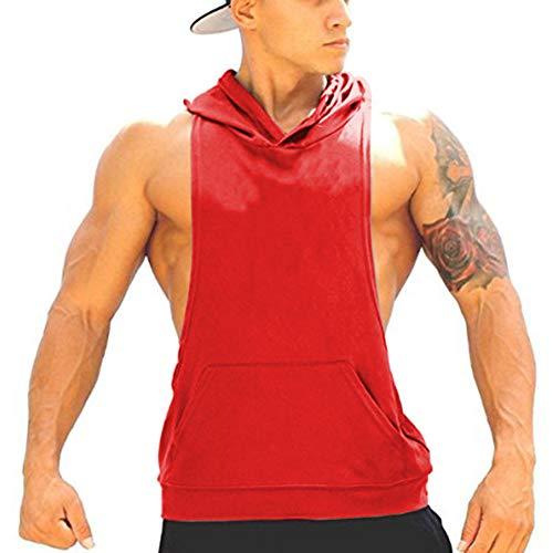 - Panegy Bodybuilding Stringer Gym Hoodie Tank Top Sport Fitness Sleeveless Shirt - Red S