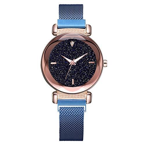 LUXISDE Watch Women Fashion Starry Sky Mosaic Diamond Quartz Mesh Belt Magnetic Buckle Ladies Watch I
