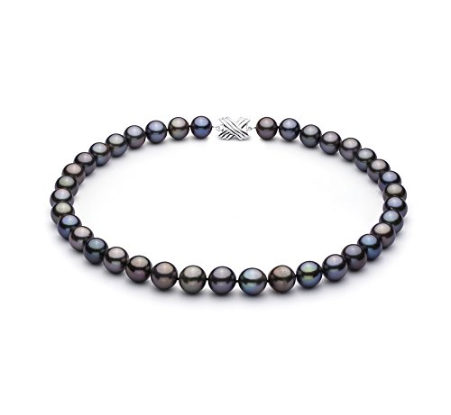 PearlsOnly - Multicolore 11.07-12.54mm AAA-qualité de Tahiti 585/1000 Or Blanc-Collier de perles