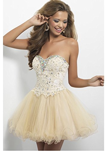 A-line Sweetheart Sleeveless Organza Champagne Appliques Crystals Lace Up Short Mini Homecoming Cocktail Dress