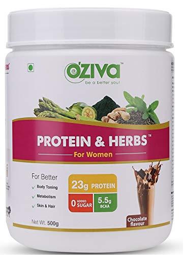 OZiva Protein & Herbs, Women, Whey Protein with Ayurvedic Herbs & Multivitamins ( Soy Free, Gluten Free), Chocolate, 16 Servings, 0g added Sugar