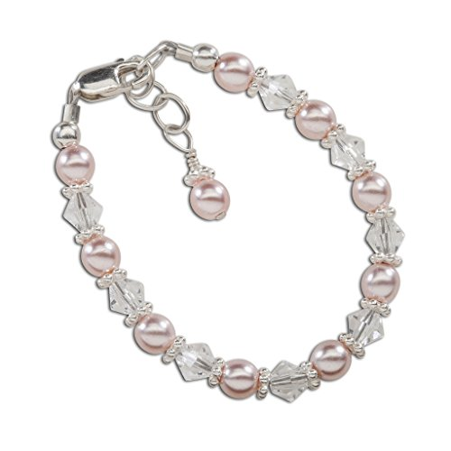 Children's Sterling Silver Pink Simulated Pearl Bracelet with Swarovski Crystals (1-5 years)