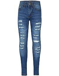 Kids Girls Skinny Jeans Denim Ripped Fashion Stretchy Light Blue Pants Jeggings