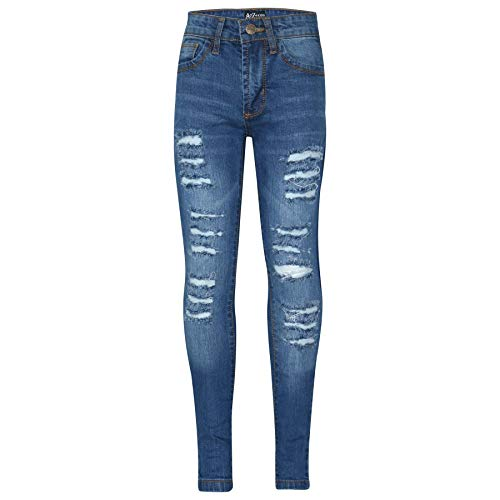 Kids Girls Skinny Jeans Denim Ripped Fashion Stretchy Light Blue Pants Jeggings