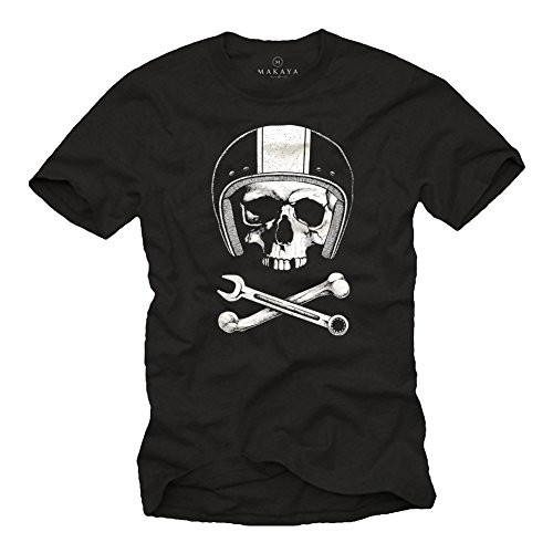 - MAKAYA Motorbike Helmets T-Shirt - Mechanics Skull - Black Size XXXL