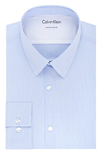 - Calvin Klein Men's Thermal Stretch Xtreme Slim Fit Stripe Dress Shirt, Blue Frost, 16
