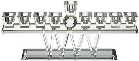 Crystal Blocks Quality Judaica Modern Crystal Hanukkah Menorah for Oil or Candles