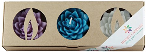 Honey Candles Enlighten Floating Lotus Blossoms Tranquil Beeswax Candle (Set of 3) 1 EA 3 -
