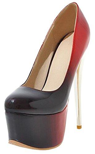 Idifu Donna Elegante Gradiente Spikes Tacchi A Spillo Low Top Slip On Pumps Scarpe Club Con Piattaforma Rossa