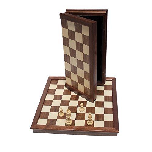WE Games Classic Chess Set - Folding Walnut Wood Board - 17 inches