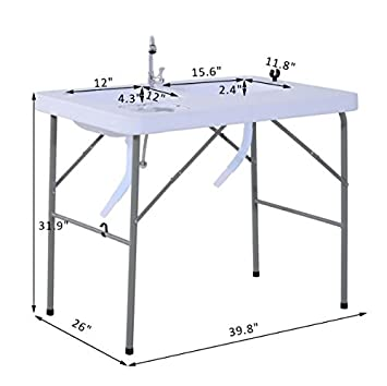 Amazon.com : eXXtra Store Camping Portable Fish Table with Faucet ...