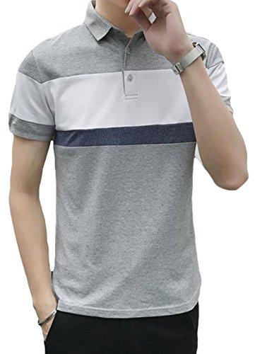MengFan 夏 ポロシャツ 半袖 メンズ Tシャツ バイカラー 襟付き シンプル トップス上着 スリム おしゃれ 通勤通学 カジュアル ゴルフウェア 快適 通気性抜群