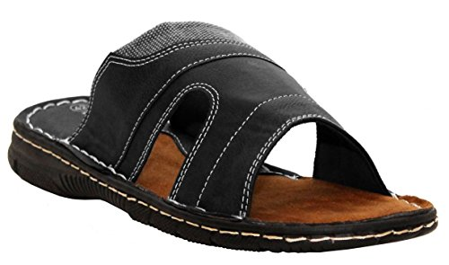 A&H Footwear Mens Gents Synthetic Leather Casual Slip On Summer Beach Mules Sandals Shoes UK Sizes 6-11 Black