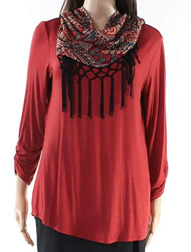 (AGB Womens Medium Print-Scarf Ruched Sleeve Knit Top Orange M)