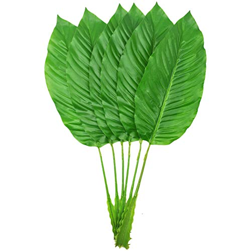 Tropical Leaves 6PCS Artificial Plant Leaves Greenery Plants Elegant Bird of Paradise Leaves Banana Fronds Fake Tropical Imitation Leaf Fake Plants Tropical Artificial Palm Leaves Party Decor Green