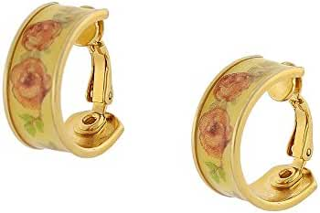 Gold-Tone Floral Decal Hoop Clip-On Earrings