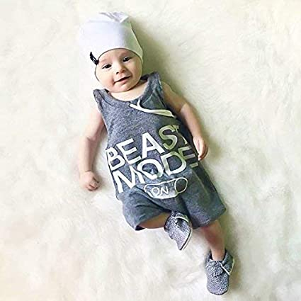 Baby Boy Jumpsuit,Newborn Infant Beast Mode Romper Outfit Sleeveless Creepers Bodysuit Clothes