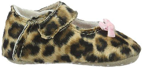 "Living Kitzbühel ""Newborn"" Leopard Mit Rosa Schlaufe - Zapatillas de casa Bebé-Niños Marrón - Braun (Leopard 235)"