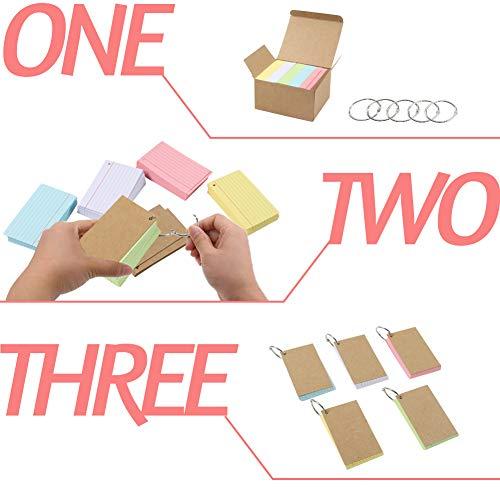 Koogel Karteikarte A8 liniert,500 Stk. liniert Karteikarten in der praktischen Lernbox für Unterwegs Vokabel Lernen